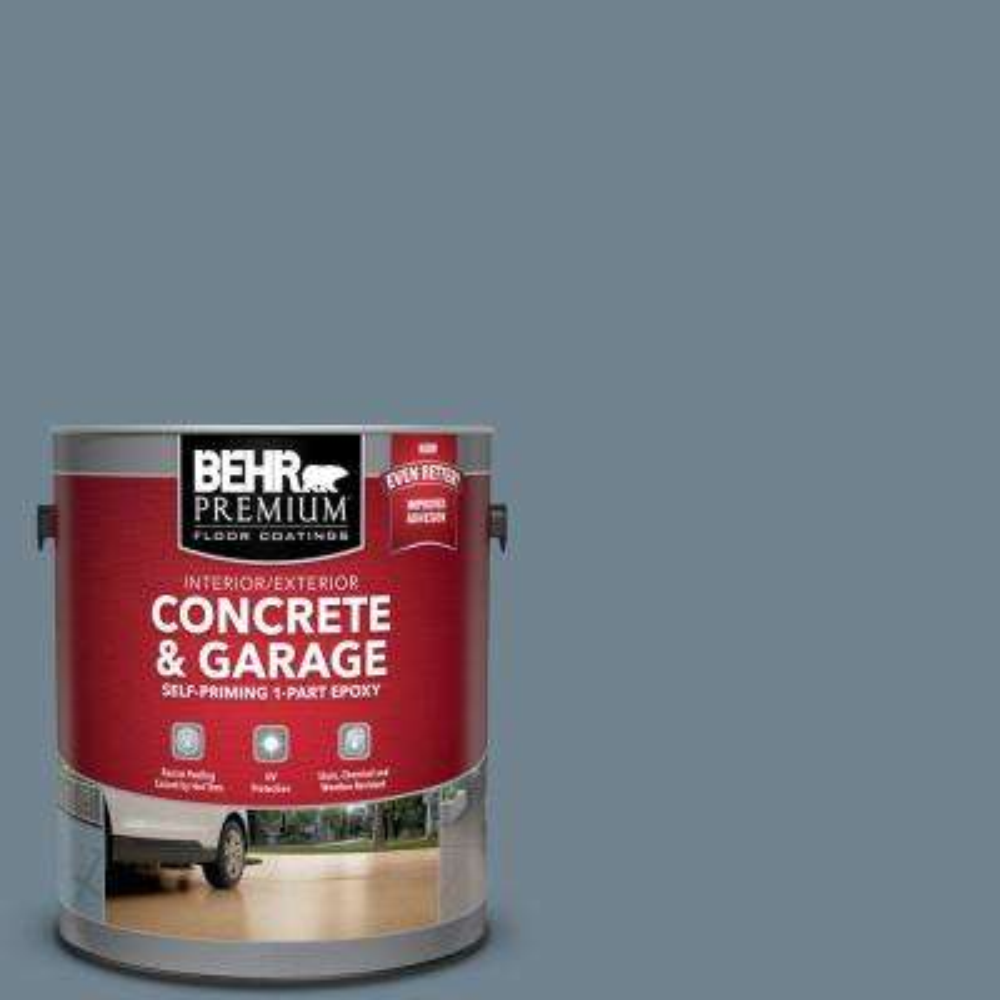 1 gal. #N480-5 Adirondack Blue Self-Priming 1-Part Epoxy Satin Interior/Exterior Concrete and Garage Floor Paint