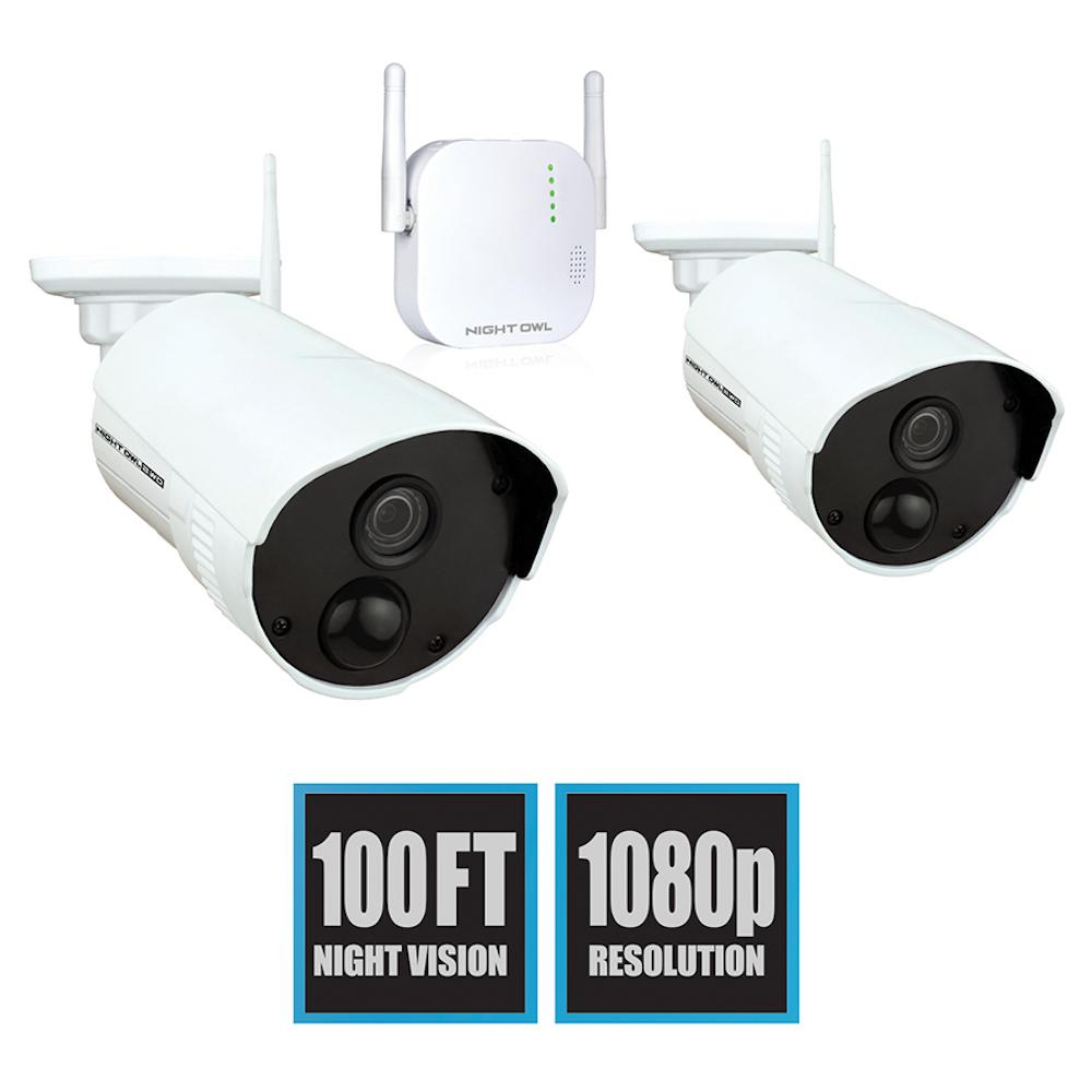 4-Channel 1080p 16GB MicroSD Card Wireless Surveillance System with 2-Wireless