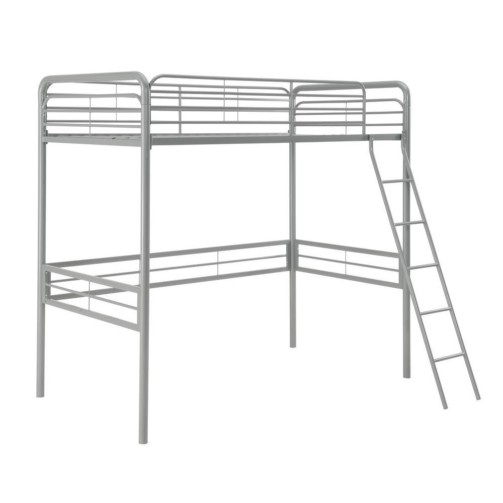 Silver Twin Metal Loft Bed Olivia