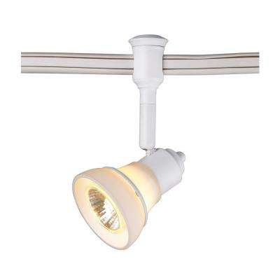 Halogen Flexible Track Lighting Head with Decorative White Glass Shade