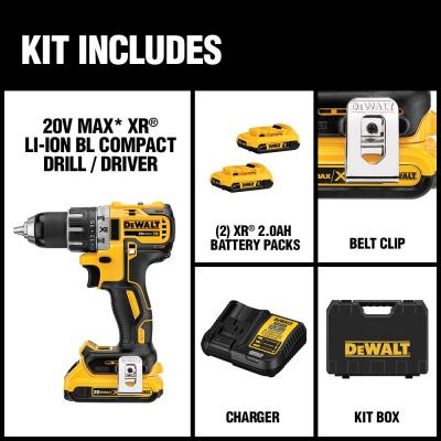20-Volt MAX XR Lithium-Ion Cordless 1/2 in. Brushless Compact Drill/Driver with (2) Batteries 2Ah, Charger and Hard Case