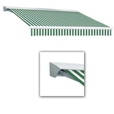 8 ft. Destin with Hood AT Model Left Motor Retractable Awning (8 ft. W x 7 ft. D) in Forest Green/White