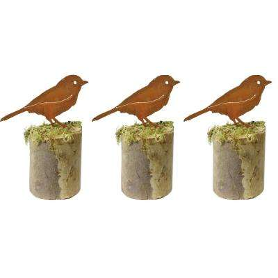 4 in. Tall Metal Rustic Look Artwork Chickadee Silhouettes (Set of 3)