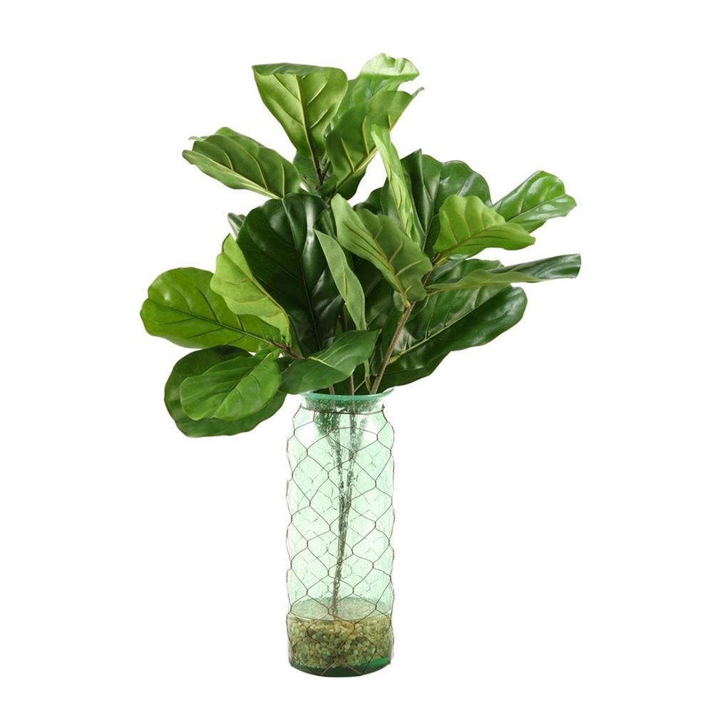 Indoor Fiddle Leaf Fig Branches in Blue Glass Vase