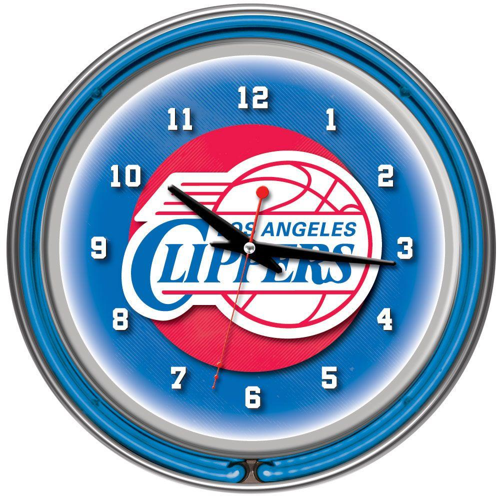 14 in. Los Angeles Clippers NBA Chrome Double Ring Neon Wall