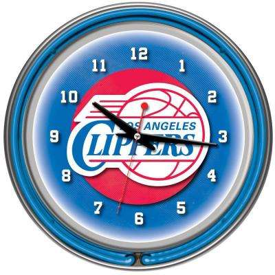 14 in. Los Angeles Clippers NBA Chrome Double Ring Neon Wall Clock