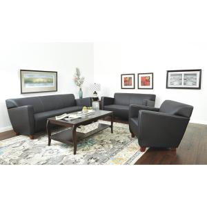 Black Bonded Leather Sofa with Cherry