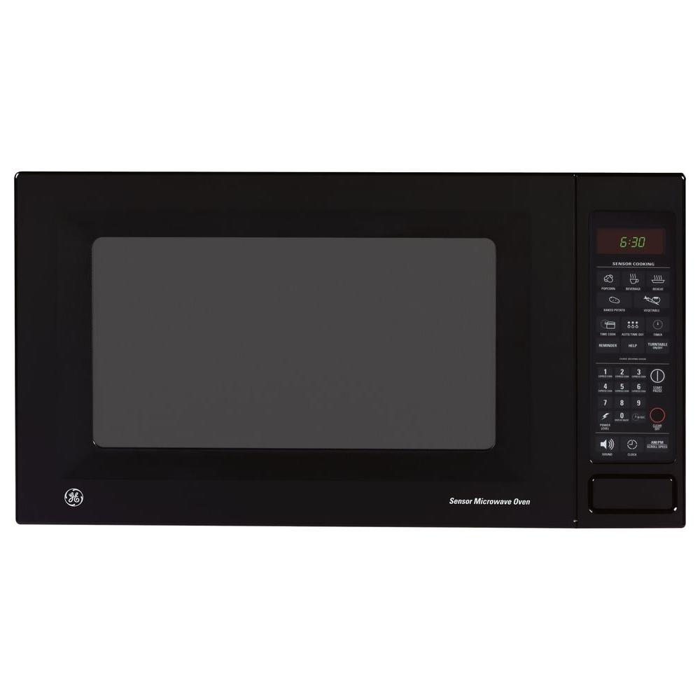 GE 1.8 cu. ft. Countertop Microwave in Black GE microwave ovens offer a multitude of installation and cooking options. Want your leftovers reheated fast, but also nicely browned and crisp? Try our microwave ovens with the browning option. Popcorn popped at the touch of a single button? A microwave with our popcorn convenience button will do the trick. For installation flexibility we offer countertop microwave ovens, over the range ovens and built-in microwave ovens. You name it, we have a microwave to fit the bill. GE countertop microwaves offer the simplest installation. Just place your counter top microwave on the shelf or counter and plug it in! Color: Black.