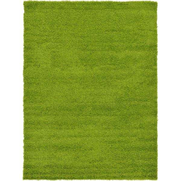 Solid Shag Grass Green 7 ft. x 10 ft. Area Rug