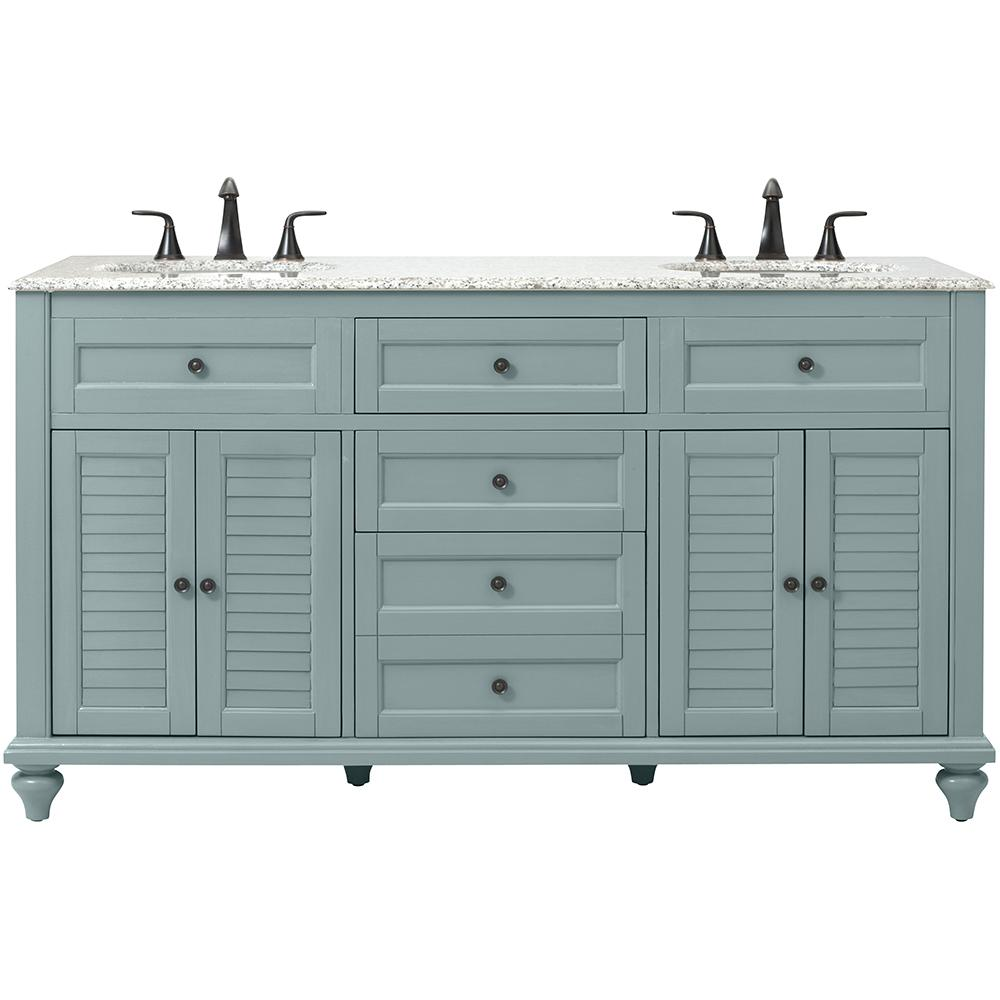 Home Decorators Collection Hamilton Shutter 61 In W X 22 In D Double Bath Vanity In Sea Glass With Granite Vanity Top In Grey With White Sink 10806 Vs61h Sg The Home Depot