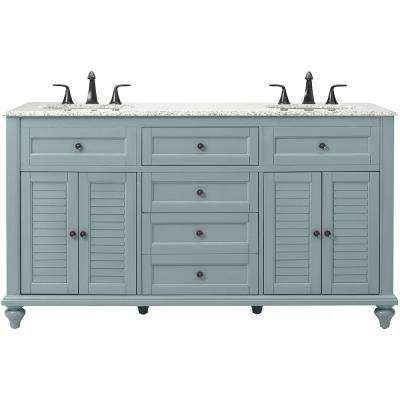 Hamilton Shutter 61 in. W x 22 in. D Double Bath Vanity in Sea Glass with Granite Vanity Top in Grey