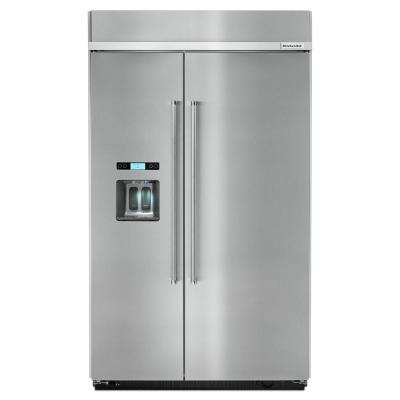 48 in. W 29.5 cu. ft. Built-in Side by Side Refrigerator in Stainless Steel