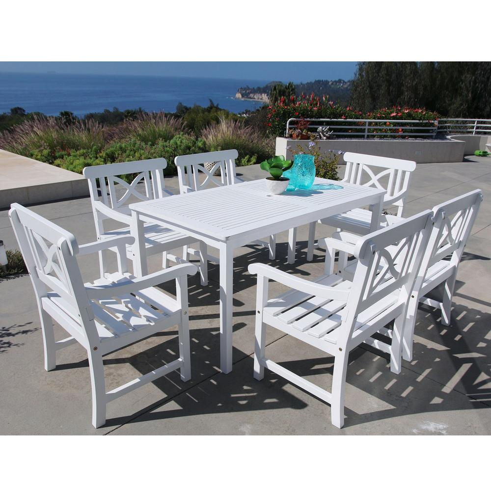 Superieur Vifah Bradley Acacia White 7 Piece Patio Dining Set With 32 In. W Table