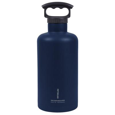 Premium Outdoor 64 oz. Black and Navy Blue Insulated Beer Growler Bundle