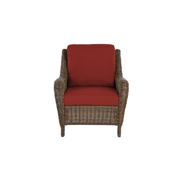 Cambridge Brown Wicker Outdoor Patio Lounge Chair with Sunbrella Henna Red Cushions