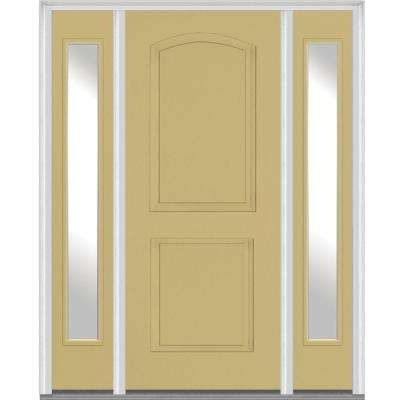 64.5 in. x 81.75 in. Right-Hand Clear 2-Panel Archtop Painted Fiberglass Smooth Exterior Door with Sidelites