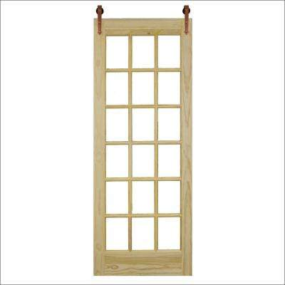 36 in. x 96 in. 18-Lite Unfinished Pine Clear Barn Door with Copper Wood Sliding Door Hardware Kit