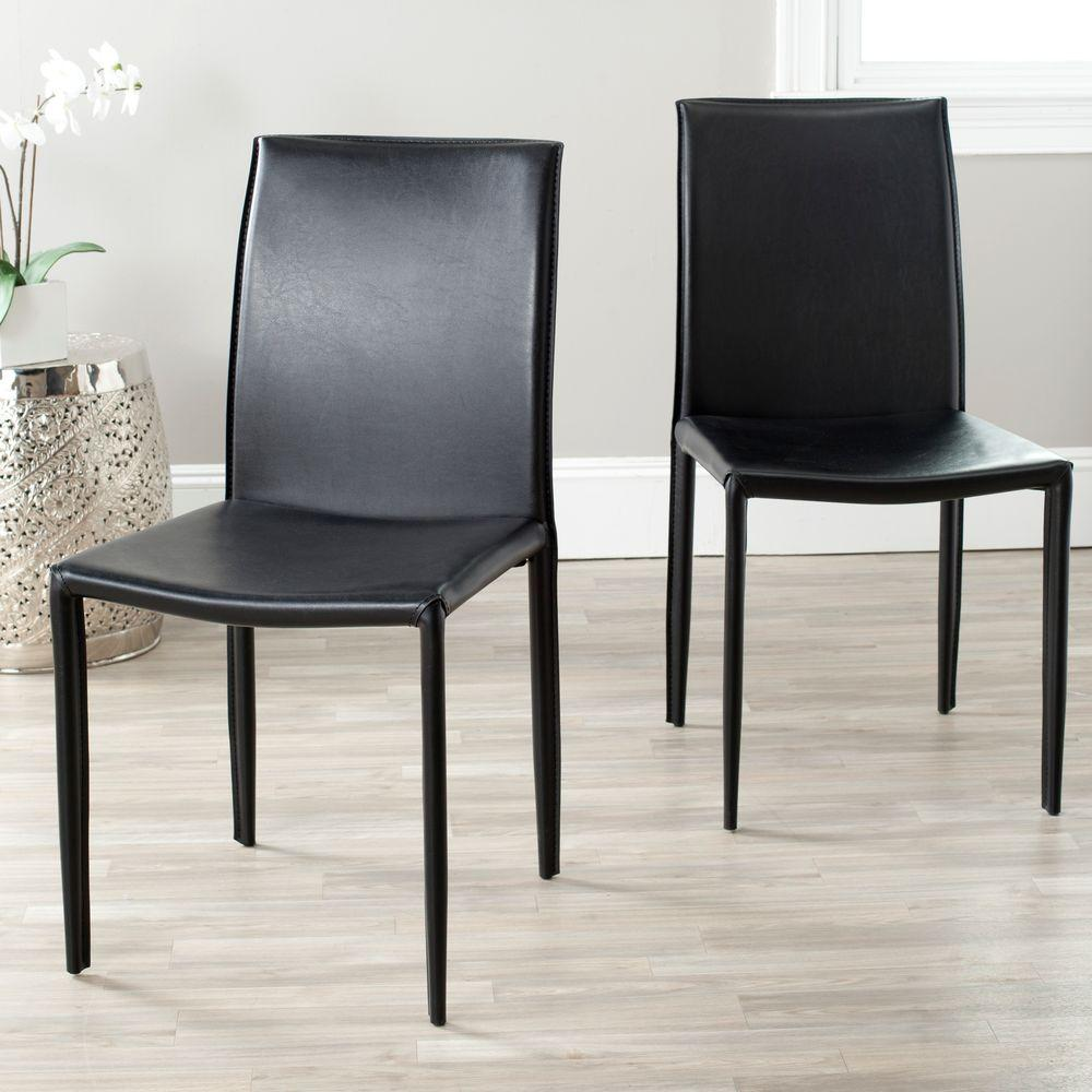 Black Leather Kitchen Chairs: Safavieh Karna Black Bonded Leather Dining Chair-FOX2009B