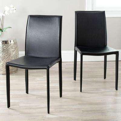 Karna Black Bonded Leather Dining Chair