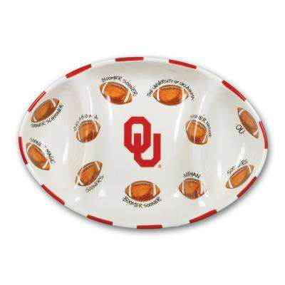 Oklahoma Ceramic Football Tailgating Platter
