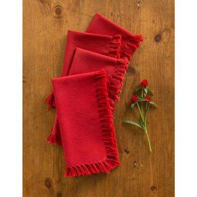 Red Essential Fringed Napkins (Set of 4)