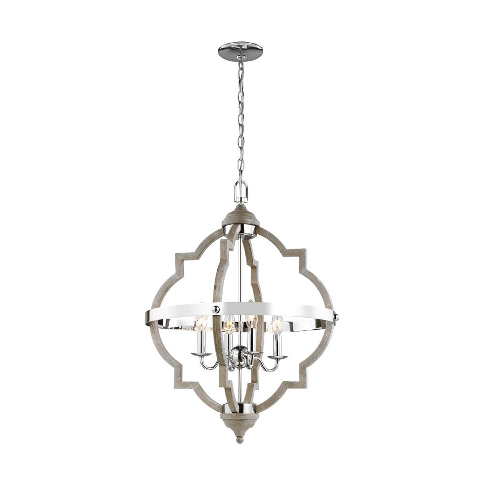 Sea Gull Lighting Socorro 20 875 In W 4 Light Washed Pine And Chrome Accents Hall Foyer Pendant With Dimmable Candelabra Led Bulb