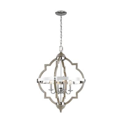 Socorro 20.875 in. W 4-Light Washed Pine and Chrome Accents Hall-Foyer Pendant with Dimmable Candelabra LED Bulb
