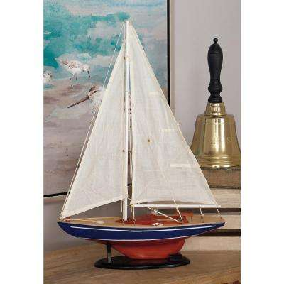 17 in. x 26 in. Rustic Wooden Sailing Ship Model
