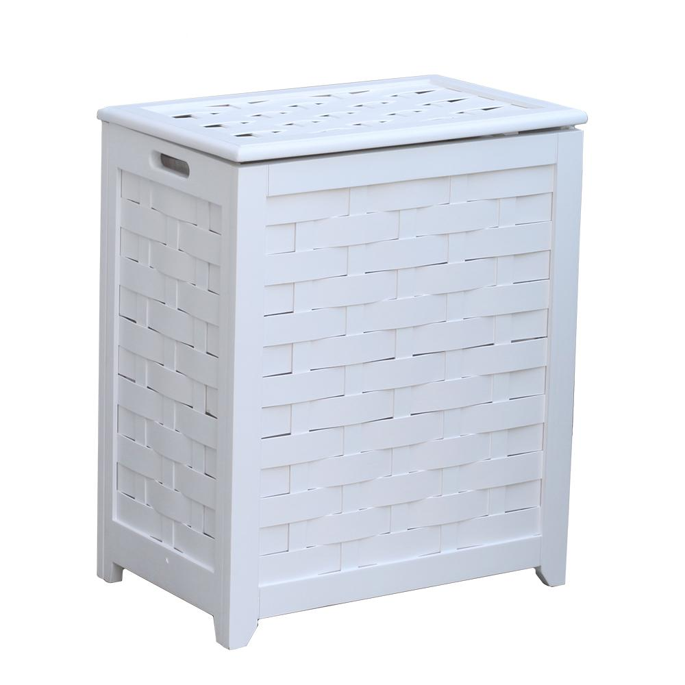 Marvelous Oceanstar White Rectangular Veneer Wood Laundry Hamper With Interior Bag