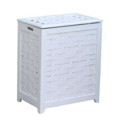 White Rectangular Veneer Wood Laundry Hamper with Interior Bag