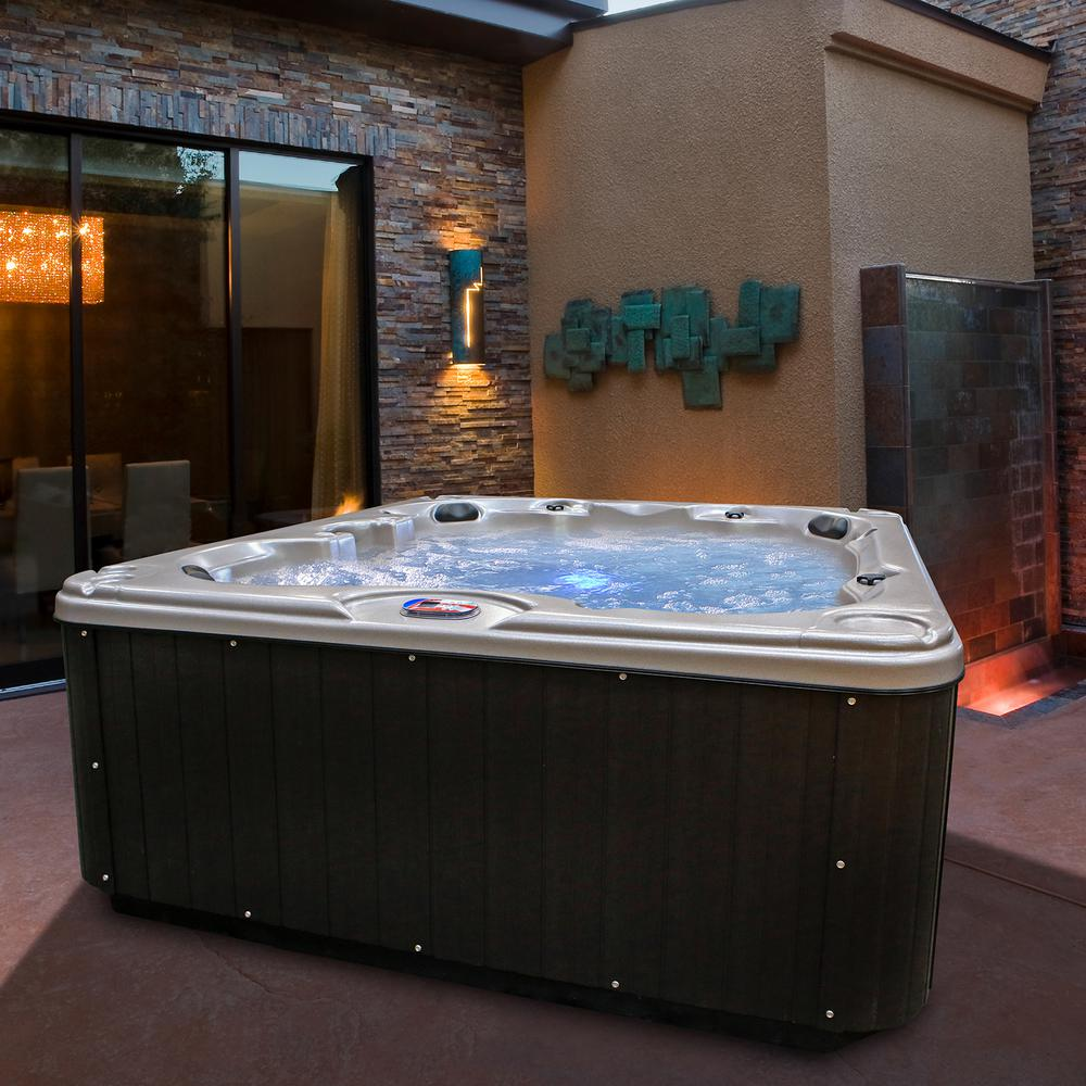 American Spas Freedom 7-Person 40-Jet Premium Acrylic Bench Spa Hot Tub with 2 Backlit LED Waterfalls and Steps