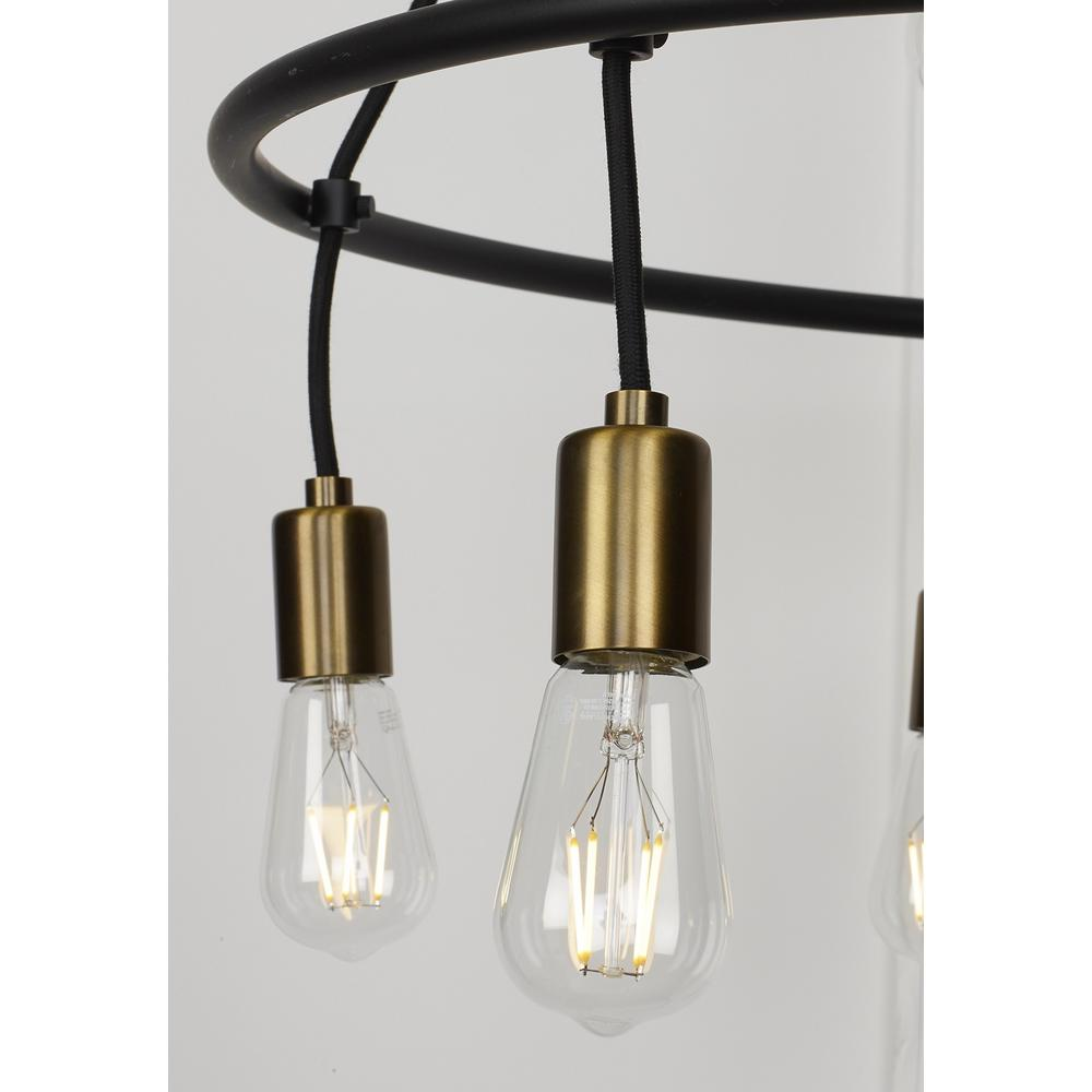 Lbl Lighting Tae 52 In W 10 Light Black Modern Island Linear Chandelier With Aged Br Socket Cups And Adjule Cords