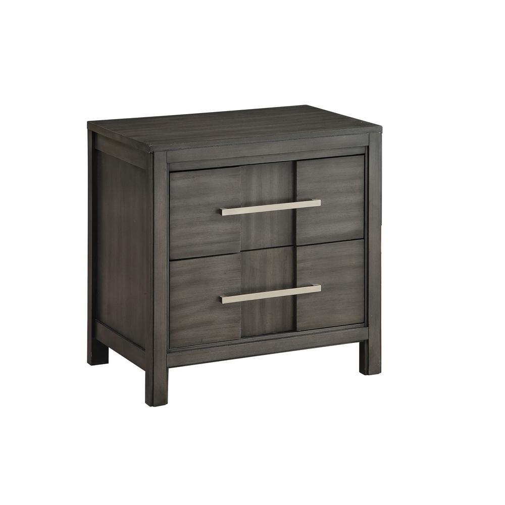 Berenice gray transitional style nightstand