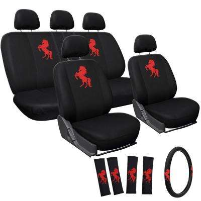 Polyester Seat Cover Set 24 in. L x 21 in. W x 40 in. H 17-Piece Embroidered Horse Red Seat Cover Set