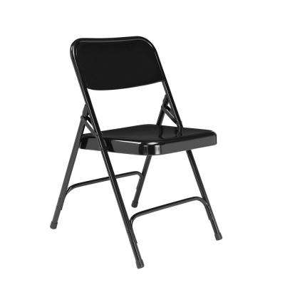 200 Series Black Premium All-Steel Double Hinge Folding Chair (4-Pack)
