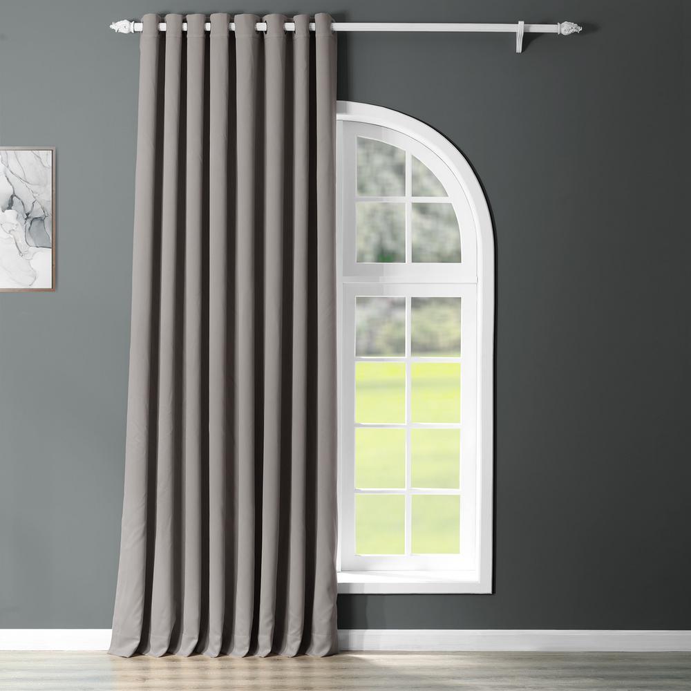Semi-Opaque Neutral Grey Grommet Doublewide Blackout Curtain - 100 in. W x 84 in. L (1 Panel)