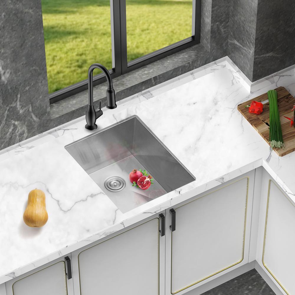 Aurora Decor Denis Stainless Steel 16 Gauge 19 In L X 20 In W Single Bowl Corner Undermount Kitchen Sink With Bottom Grid Skslh24089ss The Home Depot