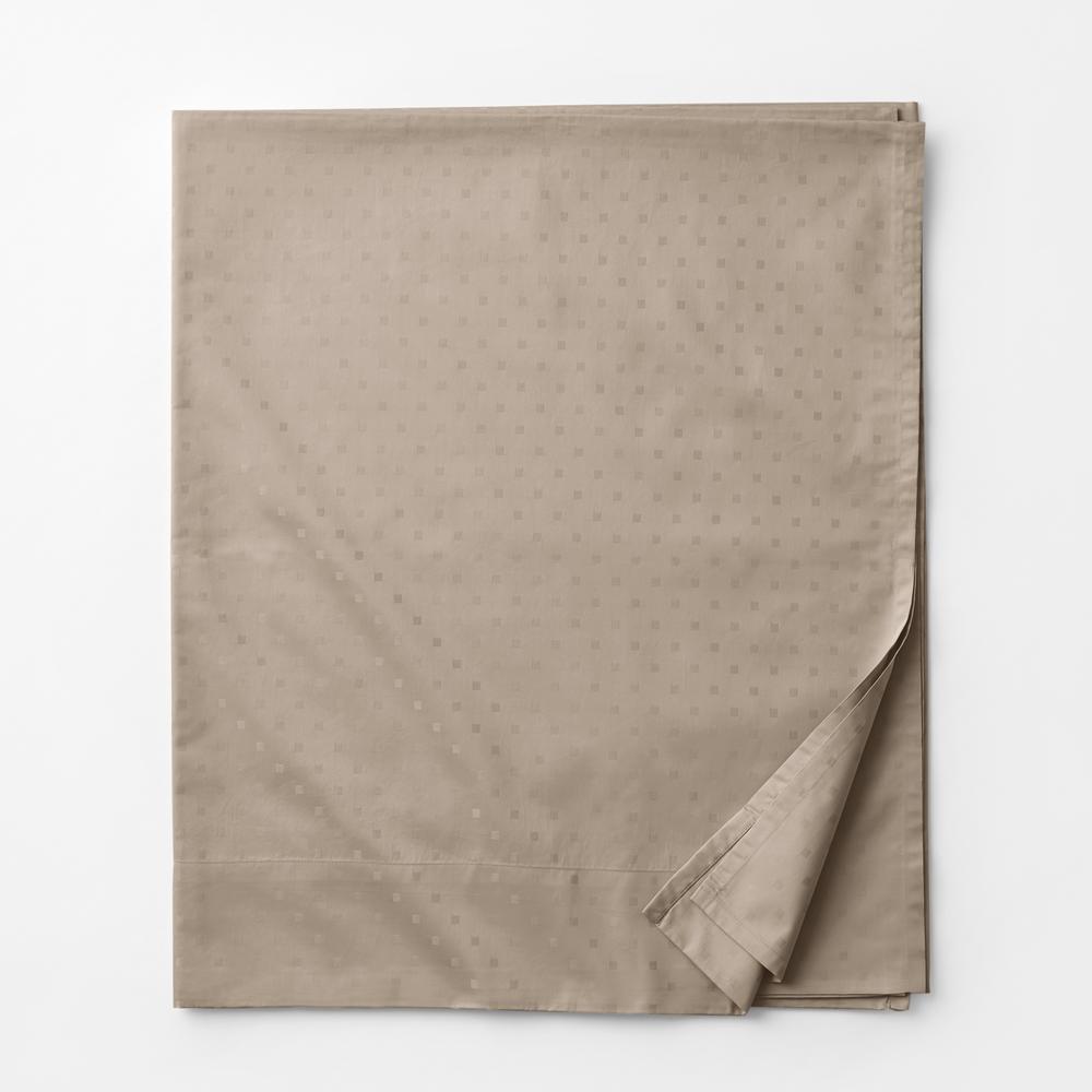 Legends Luxury Dot Cobblestone 500-Thread Count Cotton Sateen King Flat Sheet