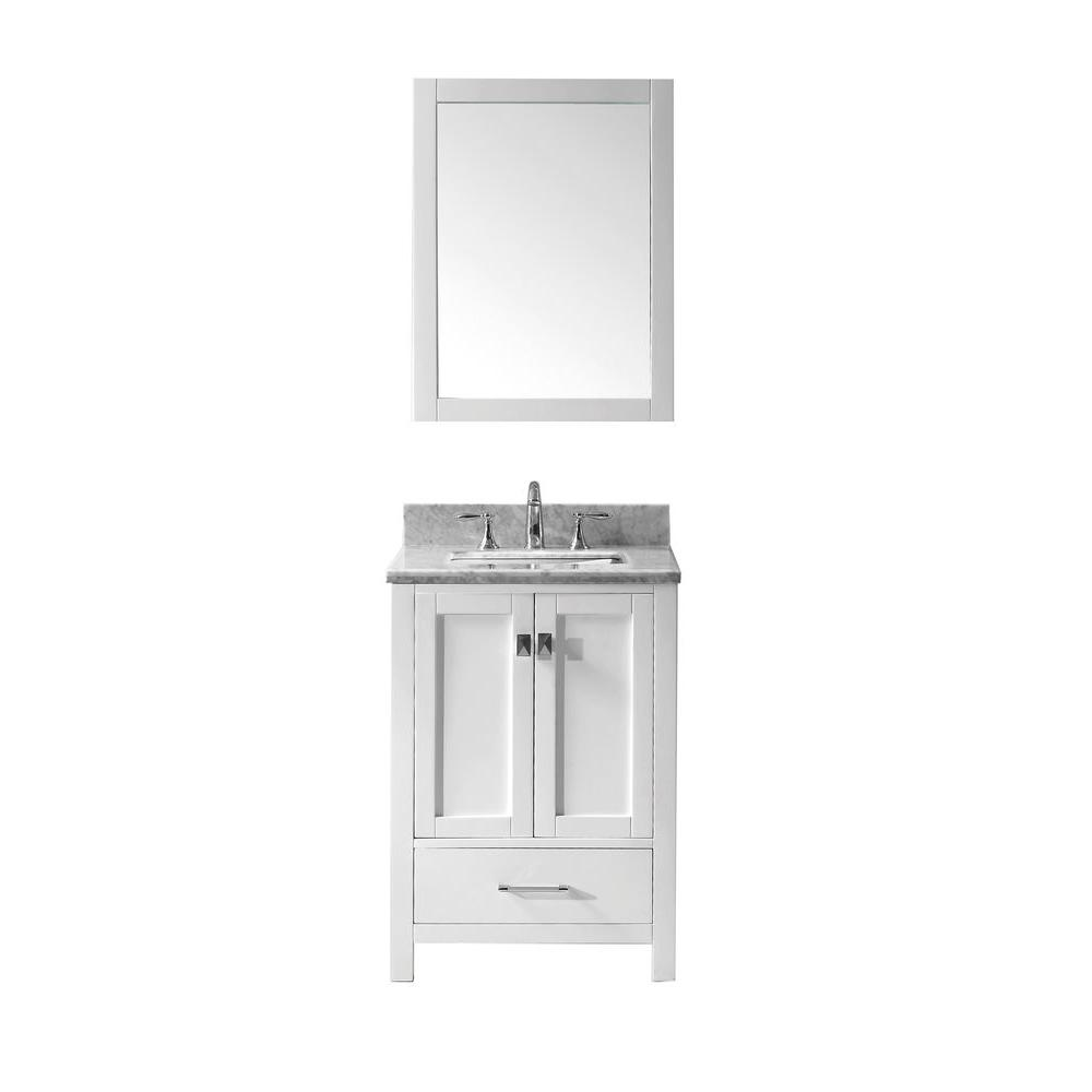 Virtu Usa Caroline Avenue 25 In W Bath Vanity In White With Marble