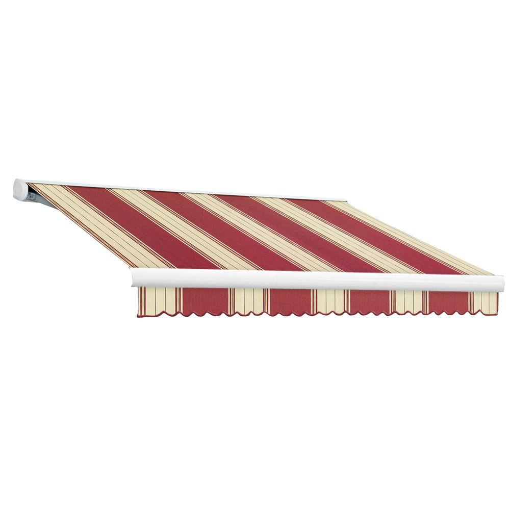 null 16 ft. Key West Full-Cassette Right Motor Retractable Awning with Remote (120 in. Projection) in Burgundy/White