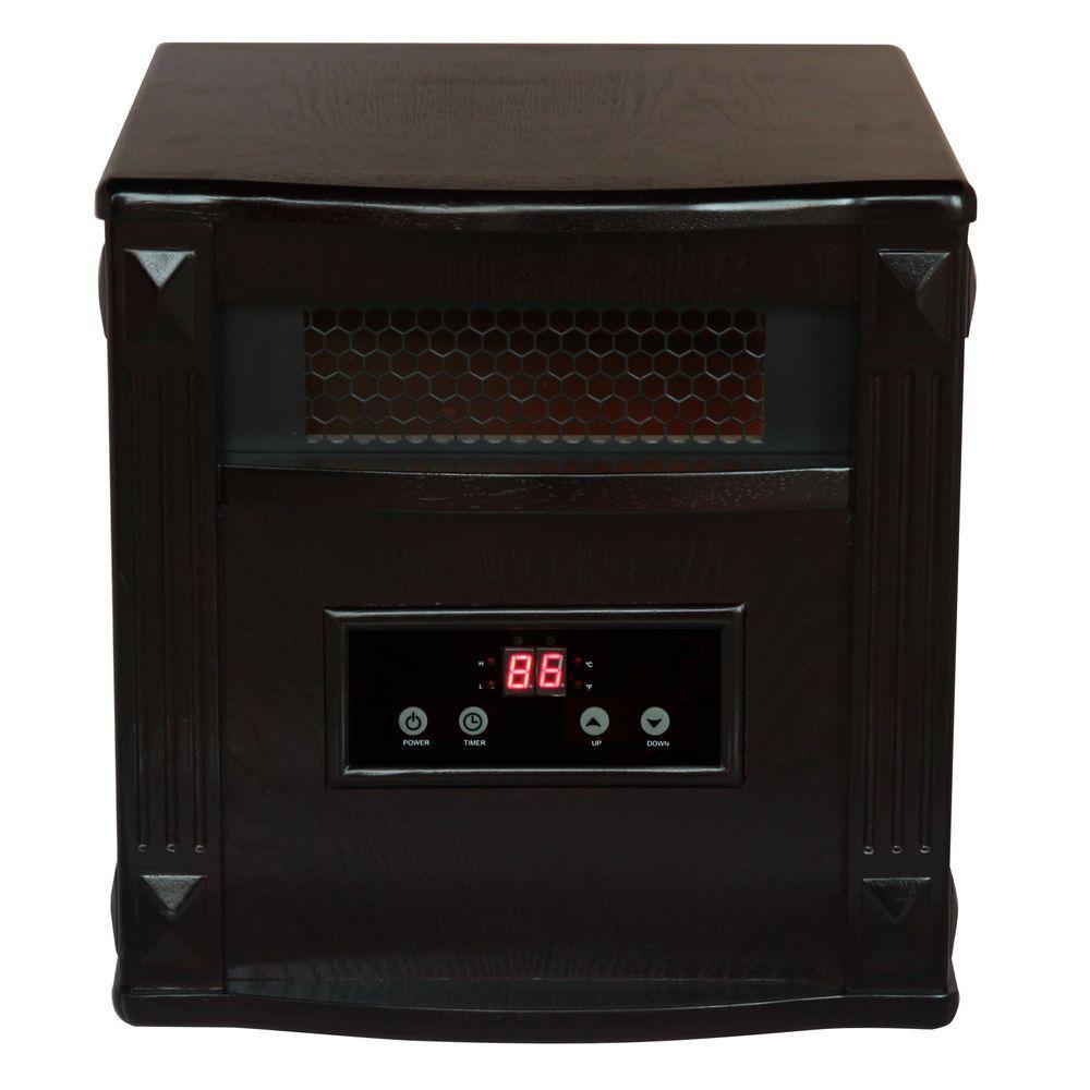 American Comfort 1500 Watt Portable Infrared Electric Heater Solid wood construction - Espresso