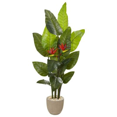 69 in. Bird of Paradise Artificial Plant in Sandstone Planter