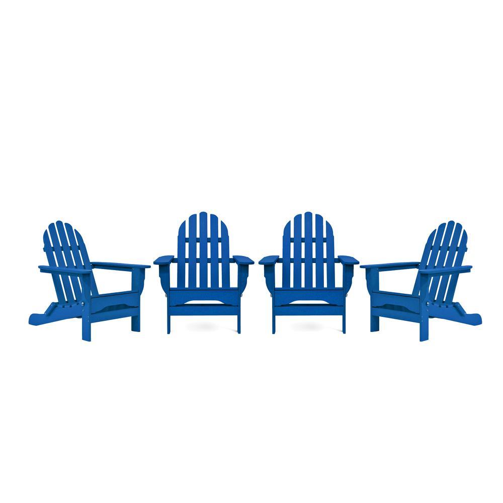 Icon Royal Blue 4-Piece Plastic Adirondack Chair Patio Seating Set