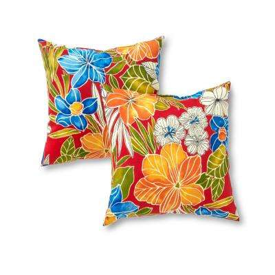 Aloha Red Square Outdoor Throw Pillow (2-Pack)
