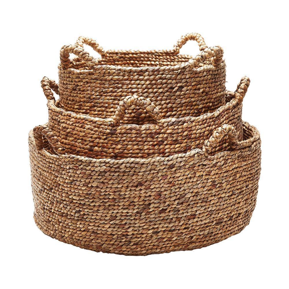 Titan Lighting Low Rise Natural Water Hyacinth Decorative Baskets (Set Of 3)