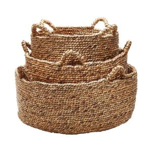 Low Rise Natural Water Hyacinth Decorative Baskets (Set Of 3)