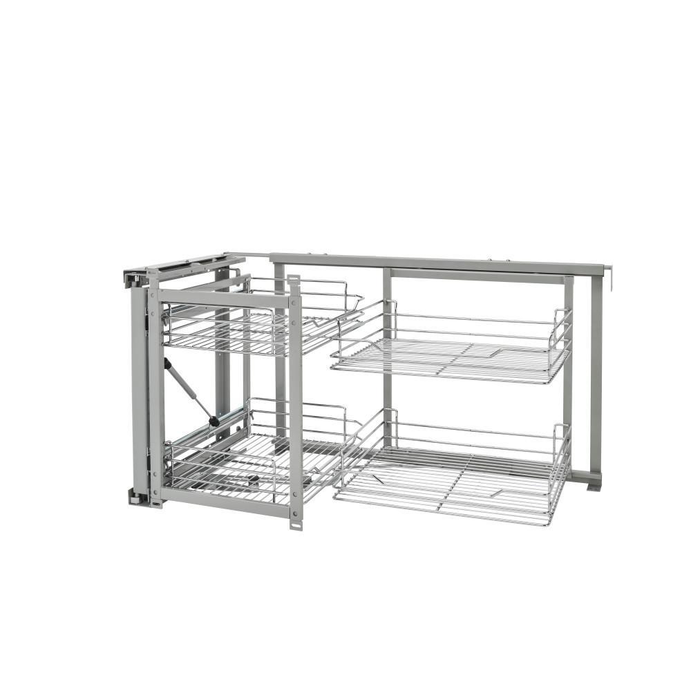 Rev A Shelf 18 In Chrome Blind Corner Organizer Soft Close 5707 18cr The Home Depot