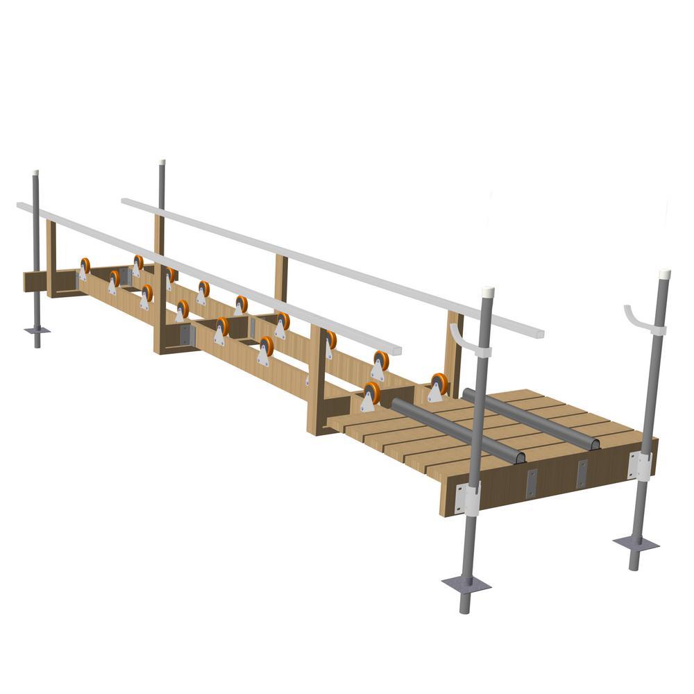 Wood Kayak Ramp Kit with 16 in. x 4 in. Wheels