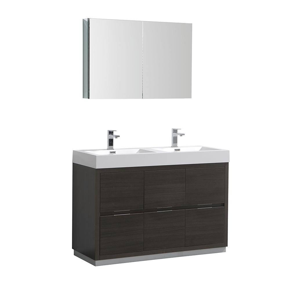 Fresca Valencia 48 in. W Vanity in Gray Oak with Acrylic Double ...