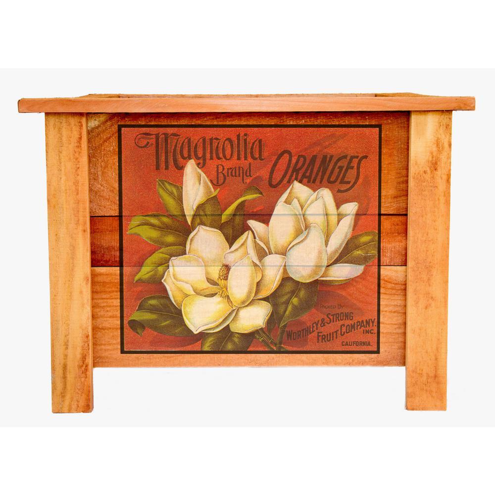 Hollis Wood Products Hollis 22 In Cedar Planter Box With Vintage Magnolia Art Design